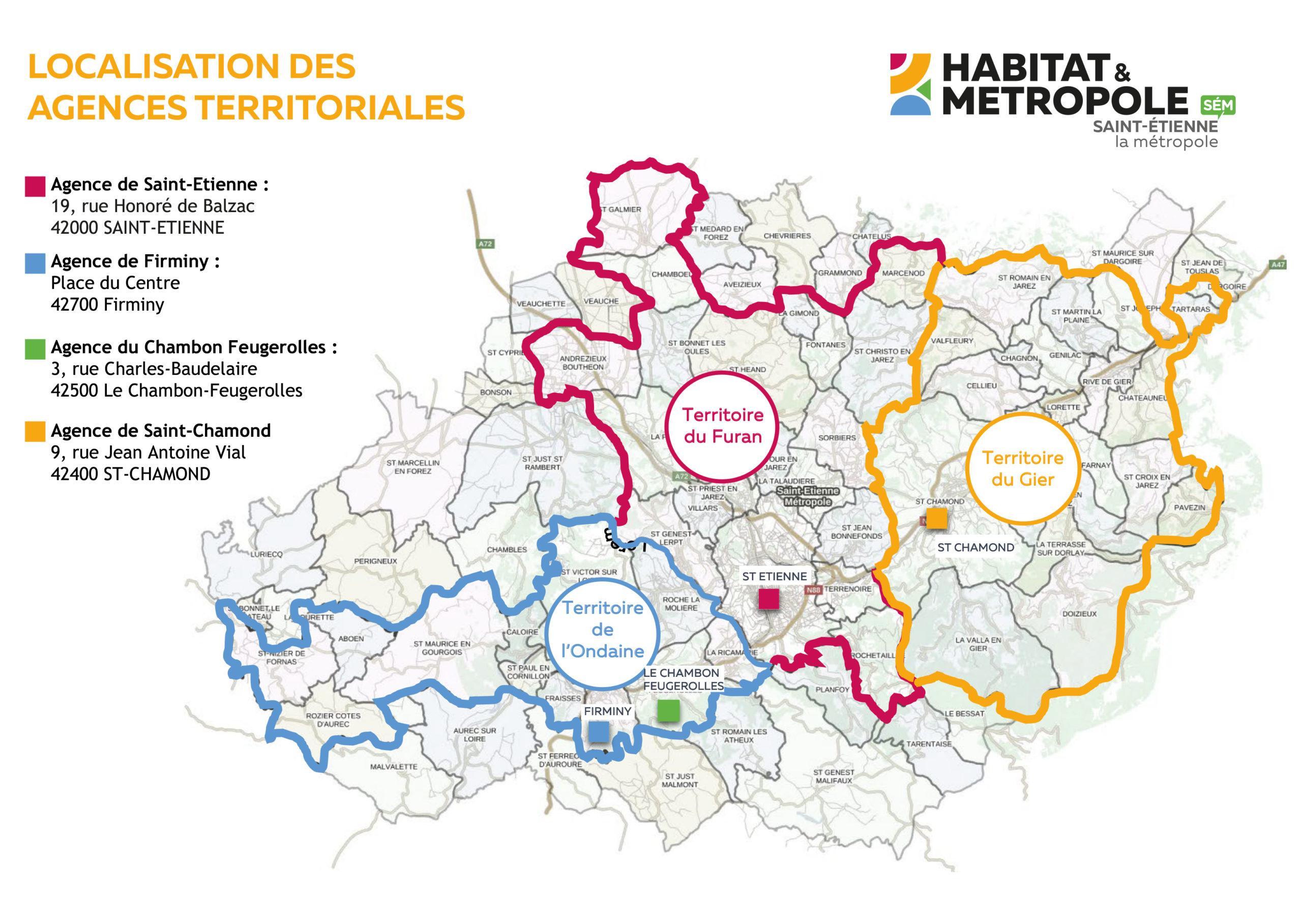 Localisation de nos agences territoriales